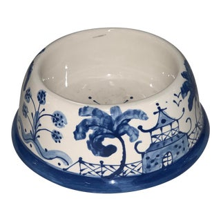 Blue Willow Inspired Medium Dog Bowl For Sale