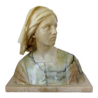 Antique Alabaster Jeanne d'Arc Bust For Sale