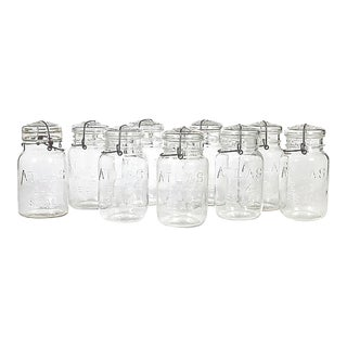 Large Kitchen Glass Canning Jar, Set of 9