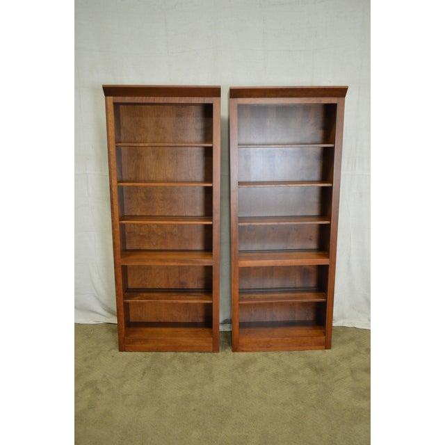 Ethan Allen American Impressions Solid Cherry Open Bookcases - A Pair For Sale In Philadelphia - Image 6 of 10