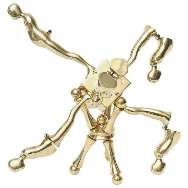 One of Kind Ernest Trova Polished Brass Falling Man Sculpture For Sale - Image 11 of 11