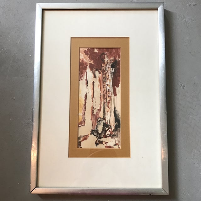 Offered is a vintage watercolor painting of a fabulously fashionable redhead and her monkey at her feet. Signed Schulman.