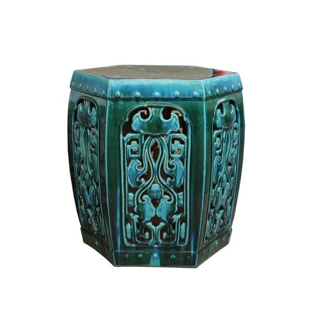 Ceramic Clay Green Turquoise Glaze Hexagon Motif Garden Stool Table - Image 3 of 7