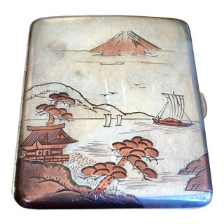 Early 20th Century Antique Japanese Silver Cigarette Case For Sale