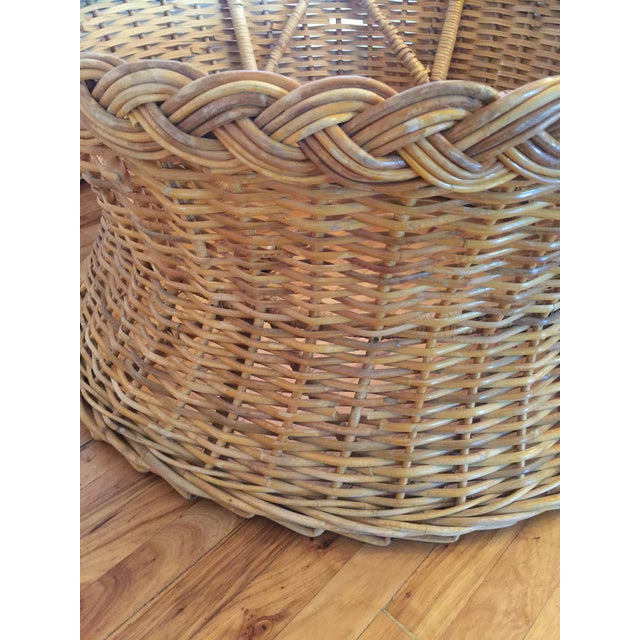 Tan 1970s Boho Chic Round Wicker Coffee Table For Sale - Image 8 of 11