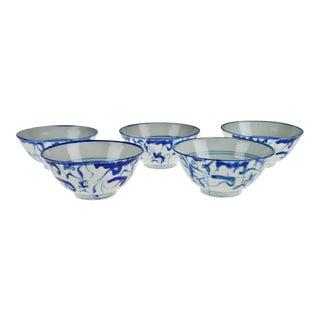 Antique Chinese Blue & White Porcelain Rice Bowls Jingde Ancient Kiln - Set of 5 For Sale