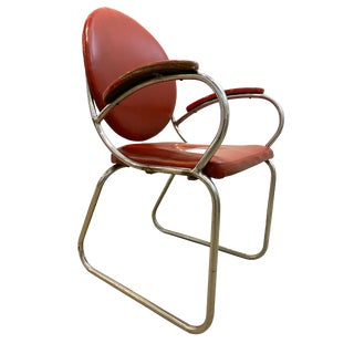 Streamline Modern Red Chrome Art Deco 1930s Arm Chair Kem Weber For Sale