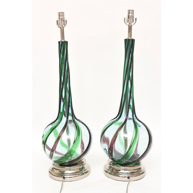 Turquoise Pair of Italian Murano Seguso Glass Table Lamps For Sale - Image 8 of 10