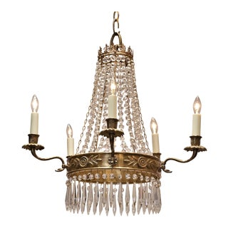 Five Light Brass Empire Style Chandelier, Circa:1930, France For Sale