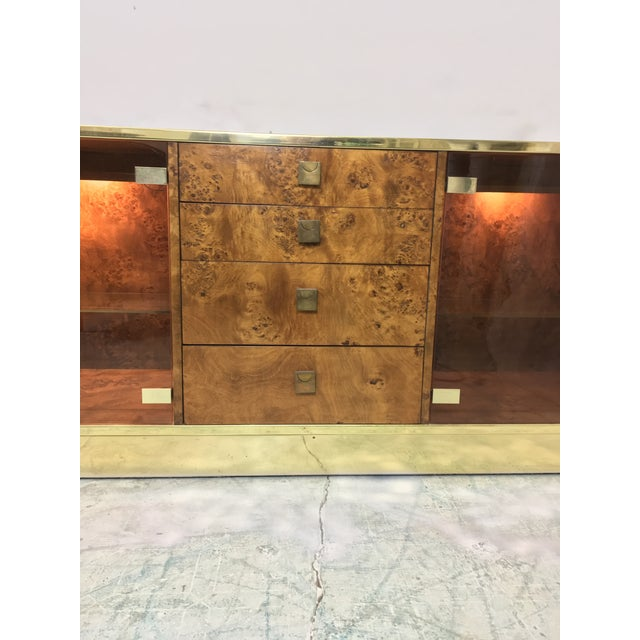 Founders Brass and Burl Credenza For Sale In Atlanta - Image 6 of 6