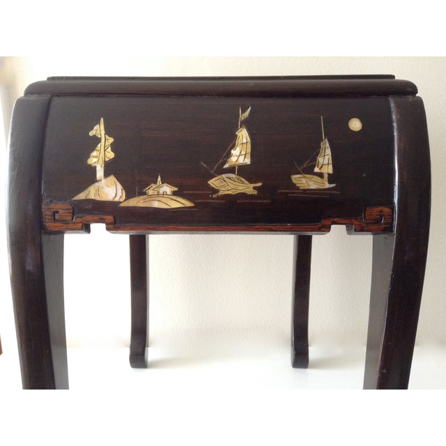 Asian Mother of Pearl & Abalone Inlay Side Table - Image 8 of 11