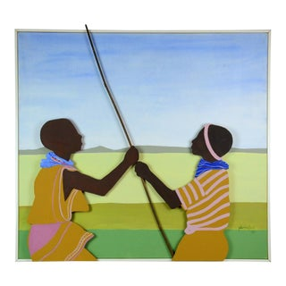 1983 Glenna Finch Mid-Century Modern Abstract Pop Art 3D Two Boys Fishing Canvas Mixed Media Painting For Sale