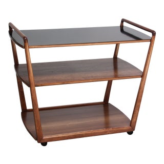 American Modern Walnut Three-Tier Rolling Bar / Tea Cart With Ebonized Surface For Sale
