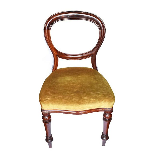 1970s Vintage Mahogany Yellow Velvet Louis XVI Victorian Side or Dining Chairs- Set of 4 For Sale - Image 11 of 11