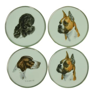 1950s Vintage Cyril Gorainoff for Abercrombie & Fitch Milk Glass Dog Coasters - Set of 4