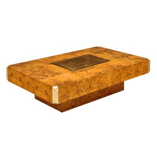 Willy Rizzo Burled Coffee Table For Sale