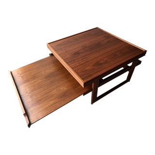 Mid-Century Danish Modern Teak Sliding Shelf Coffee Table For Sale