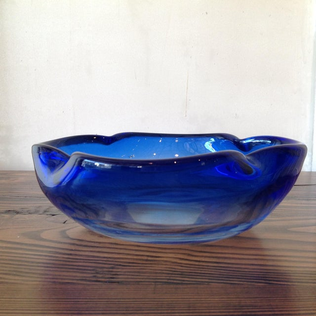 Hand Crafted Light Blue Glass Bowl - Image 5 of 6