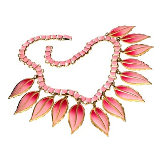 Vintage Pink Leaf Bib Necklace Art Deco Bookchain Book Chain Jewelry 1920s For Sale