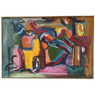 Signed Braith, Vintage Colorful Geometric Mid Century Modern Abstract Expressionist Oil Painting For Sale