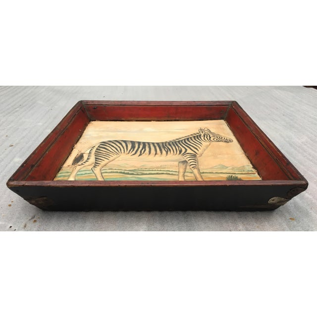 Antique Zebra Painted Wooden Tray For Sale - Image 9 of 11