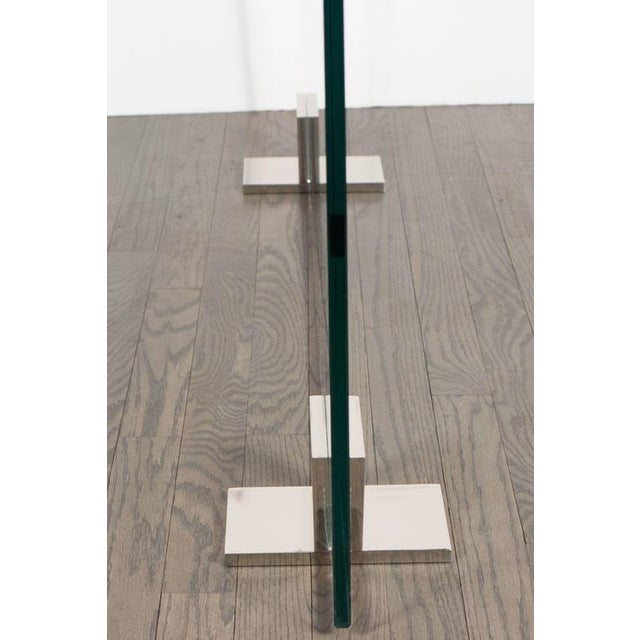 Silver Custom Modern Tempered Glass Fire Screen with Polished Nickel Strip and Feet For Sale - Image 8 of 9