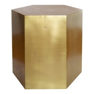 Contemporary Aged Brass Hexagonal Side Table by Noir For Sale