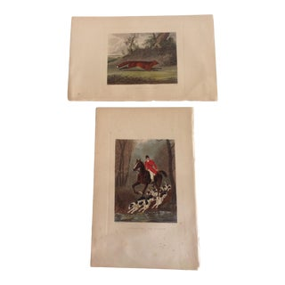 Late 19th Century English Hunt Scene Etchings - a Pair For Sale