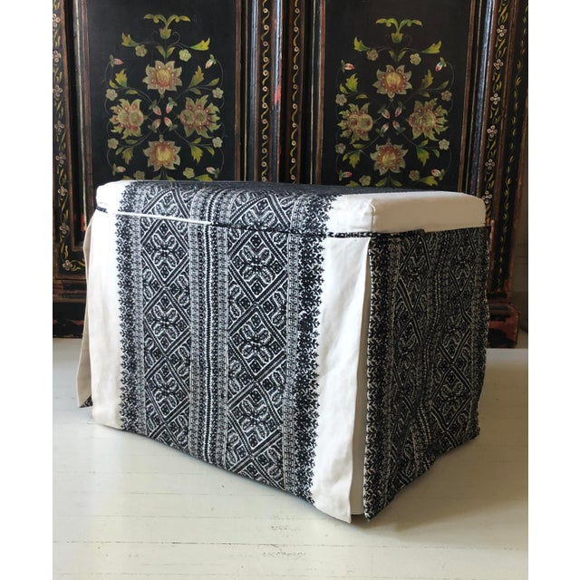 Fabric Slipcovered Ottoman in Embroidered F. Schumacher Fabric For Sale - Image 7 of 9