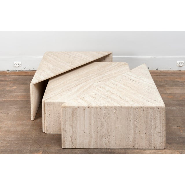 Stone A Large Set of Eight Travertine Elements Forming One or More Coffee Tables For Sale - Image 7 of 11