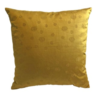Vintage Gold Scalamandre Celestial Silk Cotton Pillow
