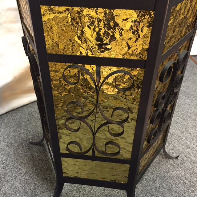 Gothic Spanish Revival Iron Slag Glass Light - Image 6 of 6
