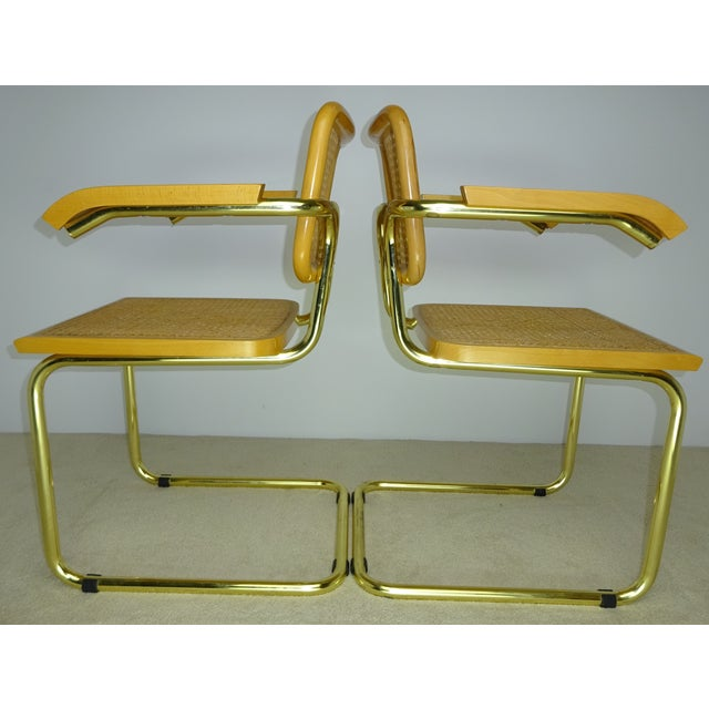 Marcel Breuer Cesca Brass Armchairs - a Pair For Sale - Image 5 of 11