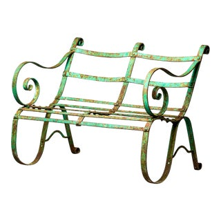 Antique English Wrought Iron Garden or Park Bench For Sale