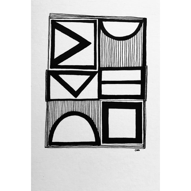 This original pen and ink drawing by textile designer and artist, Christy Almond, is a study of geometric shapes the...