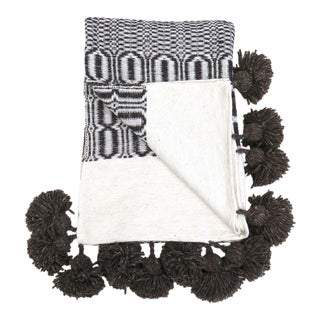 Moroccan Woven Pom Pom Blanket For Sale