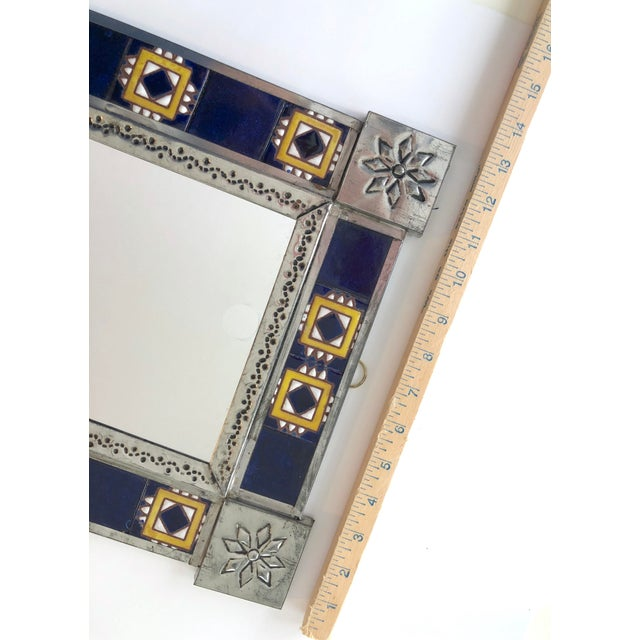 Vintage Mexican Blue and White Handmade Tile Mirror For Sale - Image 10 of 12
