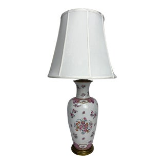 1920s White Chinese Export Samson Armorial Lamp With Order of the Garter Decoration For Sale