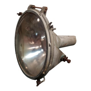 Late 1960s Industrial Metal Convex Glass Lens Spotlight For Sale