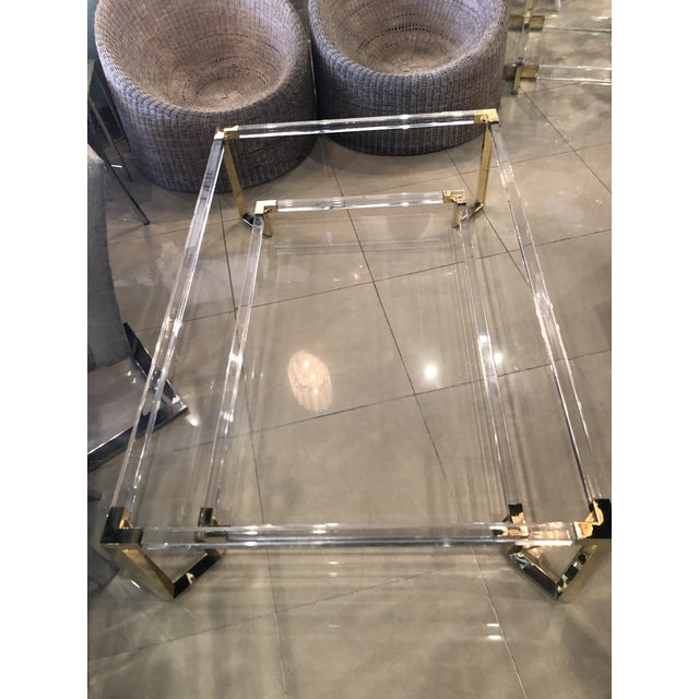 Vintage Hollywood Regency Geometric Brass and Lucite Two Tier Glass Cocktail Table For Sale - Image 9 of 12