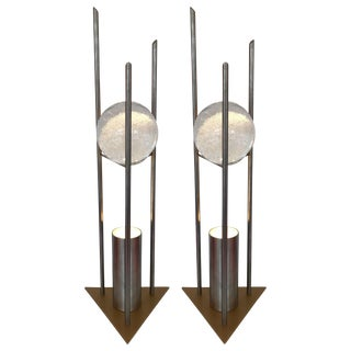 Pair of Lamps Glass Ball Sculpture by Rw Manufaktur, Germany, 1980s For Sale