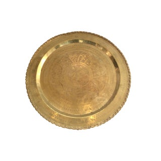 Vintage Moroccan Etched Brass Tray For Sale