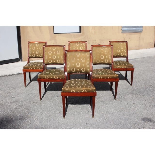 1910s 1910s Vintage French Empire Solid Mahogany Dining Chairs - Set of 6 For Sale - Image 5 of 13