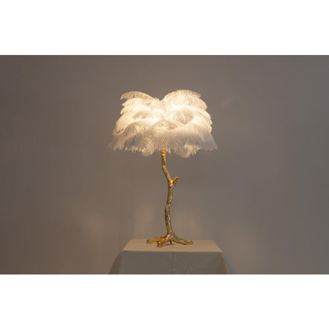 2010s Gold Palm Tree Lamp With White Feathers For Sale - Image 5 of 9