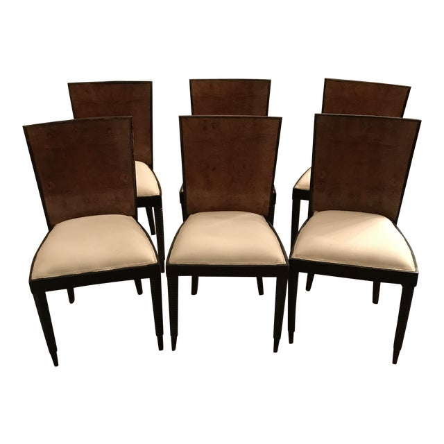Art Deco Burl Poplar Wood Chairs - Set of 6 For Sale