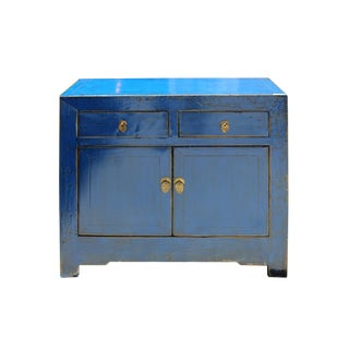 Oriental Simple Distressed Blue Lacquer Credenza Sideboard Table Cabinet