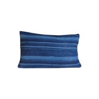Dark Blue Striped Indigo Lumbar Pillow