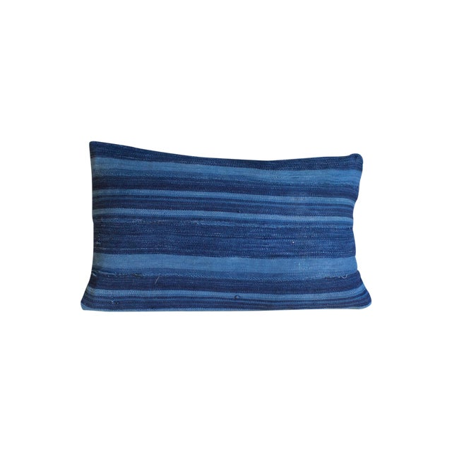 Dark Blue Striped Indigo Lumbar Pillow - Image 1 of 6