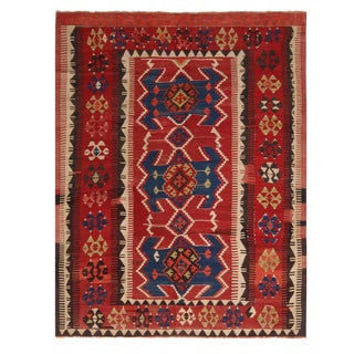 Vintage Mid-Century Obruk Beige-Brown and Red Wool Kilim Rug - 4′8″ × 6′4″ For Sale