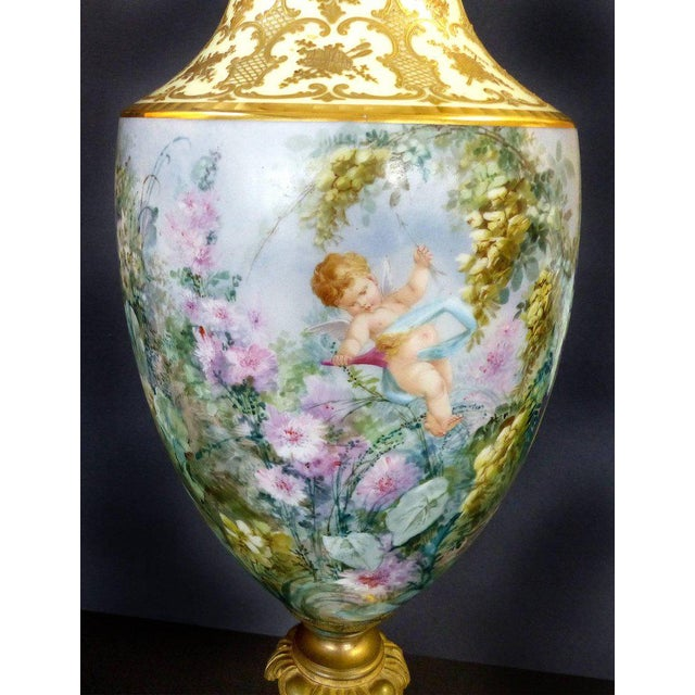 French 19th Century Hand-Painted Sevres Covered Urn Mounted in Gilt Bronze, Signed For Sale - Image 3 of 11
